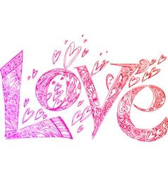 LOVE pink doodles vector image vector image