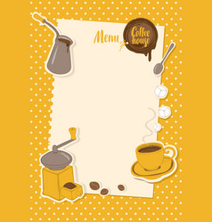 menu with a cup sugar cezve and coffee grinder vector image vector image