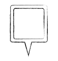 Monochrome sketch of square speech with tail vector