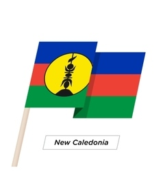 New Caledonia Ribbon Waving Flag Isolated on White vector image