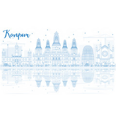 outline kanpur skyline with blue buildings and vector image vector image