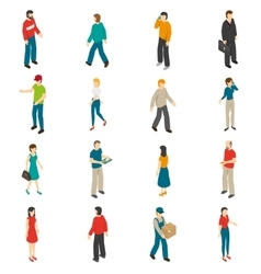 People isometric icons set vector