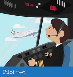Pilot design flight deck aircraft pilots at work f vector