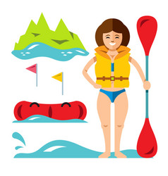 Rafting girl flat style colorful cartoon vector