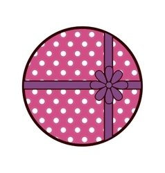 Round pink gift box present ribbon dots vector