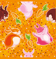 seamless pattern with cartoon pretty rabbits and vector image vector image