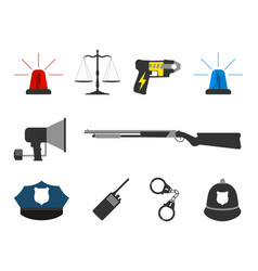 Set of police elements equipment icons vector