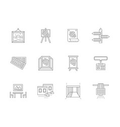 Showrooms flat line icons set vector