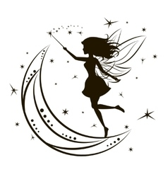 Silhouette of fairy with moon and stars vector