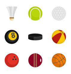 sport equipment icons set flat style vector image vector image