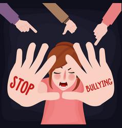 Stop bullying child abuse girl sad victim scared vector