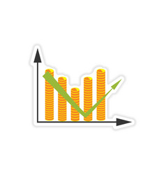 Stylish sticker on paper chart and coins vector