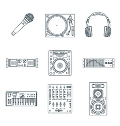 various dark outline sound devices icons set vector image