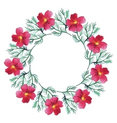 Watercolor floral wreath flower round vector