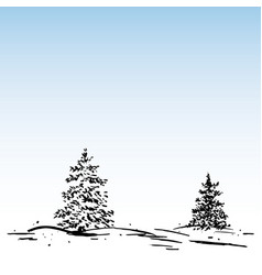Winter background ink fir and snow vector