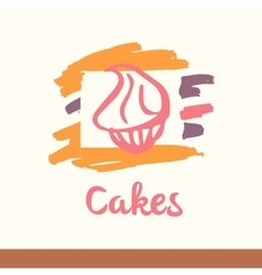 with stylized cakes dessert sweet vector image vector image