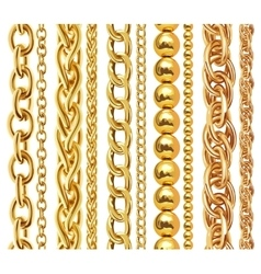 Set of realistic golden chains vector