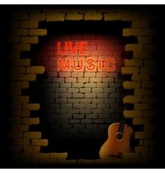 live music neon light in the doorway of brick wall vector image