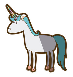 white background with cartoon unicorn standing vector image