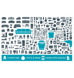 Big set of quality icons household items vector