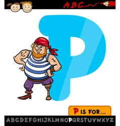 letter p with pirate cartoon vector image