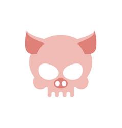 Pig skull isolated pink swine skeleton head vector