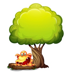 A scary orange monster under the tree vector