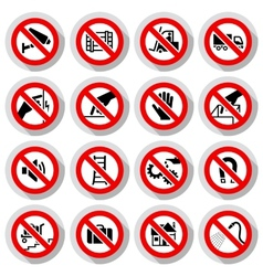 Set icons prohibited symbols vector