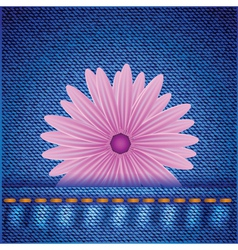 Flower on jeans background vector