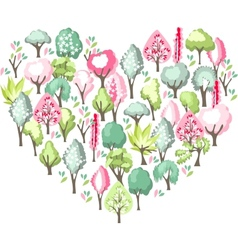 Heart made of blossoming spring trees vector image