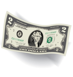 2 dollar bill 3d vector