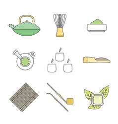 Various colored outline japan tea ceremony vector