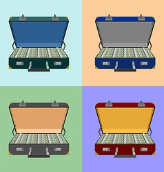 Set lot of money in a suitcase vector