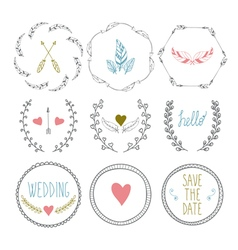 Set of hand drawn frames with wedding decorative vector
