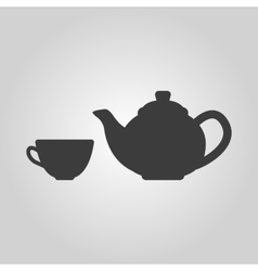The teapot and cup icon tea symbol flat vector