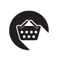 Black icon with shopping basket vector