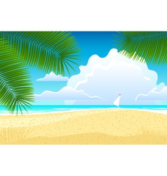 Sea landscape with palm trees vector