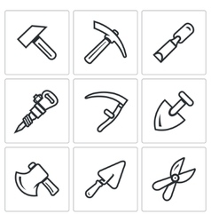 Set of Work Tools Icons Repair Mine vector image