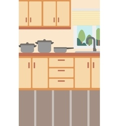 Background of kitchen with kitchenware vector