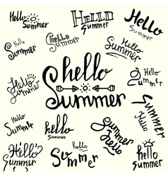 Inscription hello summer handwritten lettering vector