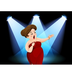 A fat lady performing in the stage vector image vector image