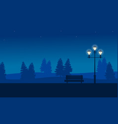 At night garden scenery with street lamp vector