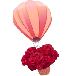 Balloon full of fresh red roses vector image vector image