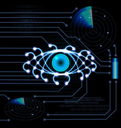 brilliant hud eye on a black background with light vector image vector image