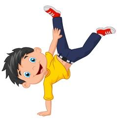 Cartoon boy standing on his hands vector image