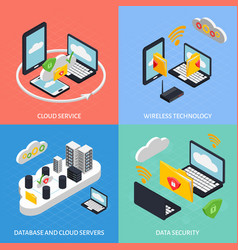cloud office concept icons set vector image