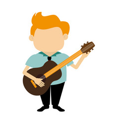 colorful silhouette faceless singer with acoustic vector image vector image