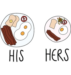 Comparing of His and Hers Breakfast vector image