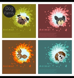 Cute animal family background with Dogs 6 vector image vector image