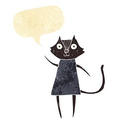 Cute cartoon black cat waving with speech bubble vector